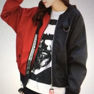 Jackets & Blazers - Color block split bandage bomber jacket red/black